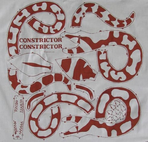 "Constrictor Constrictor ©1975 silk screen on muslin, 40"" x 40"""