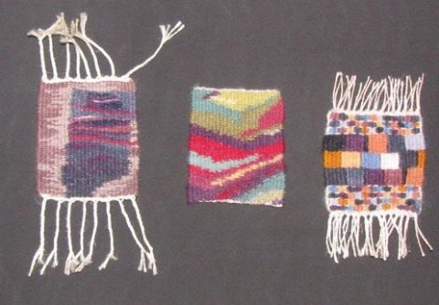Tapestry samples from beginning weaving and dye course